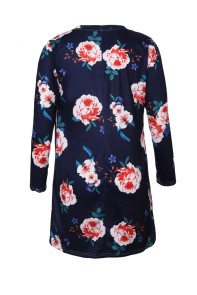 Navy Blue Long Sleeve Floral Cardigan