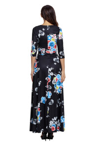 Black Floral Print Wrapped Long Boho Dress