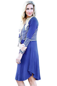 Blue Chic Blocked Stripe Jersey Dress