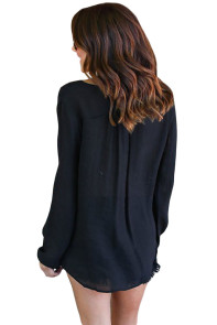 Black Bamboo Lace up Blouse