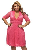 Womens Scalloped Trim Rosy Plus Size Lace Dress