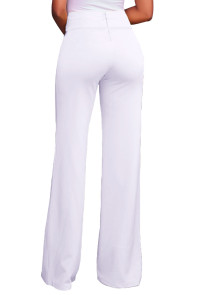 White Gold Zipper Detail High Waist Palazzo Pants
