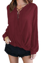 Wine Bamboo Lace up Blouse