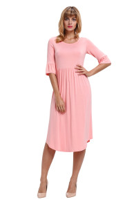 Pink Ruffle Sleeve Midi Jersey Dress