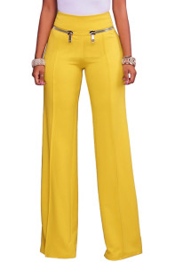 Yellow Gold Zipper Detail High Waist Palazzo Pants