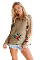 Nude Long Bell Sleeve Blossoming Chiffon Top