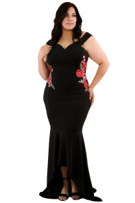Black Plus Size Embroidery Floral Mermaid Maxi Dress