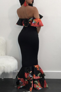 Floral Ruffle Accent Black Crop Top and Skirt Set