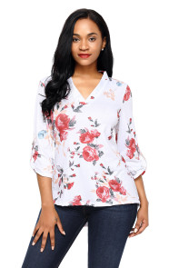 White Red Floral Print Slight V Neck Blouse
