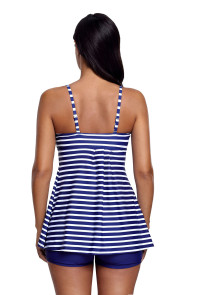Blue White Striped Tankini and Short Set