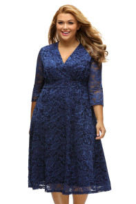 Navy Blue Plus Size Surplice Lace Formal Skater Dress