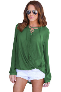 Olive Bamboo Lace up Blouse