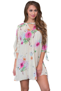 White Background Floral Dress with Slit Sleeve