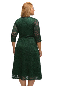 Olive Plus Size Surplice Lace Formal Skater Dress