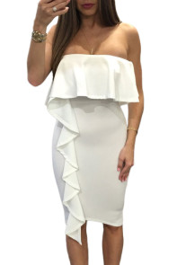 White Asymmetric Ruffle Trim Strapless Bodycon Dress