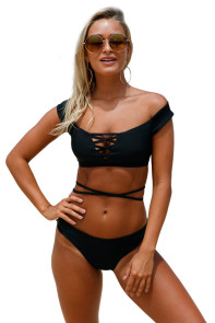 Black Strappy Crisscross 2pcs Tankini Swimsuit