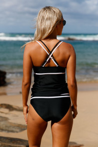 Black White Straps Tankini and High Waist Swimsuit