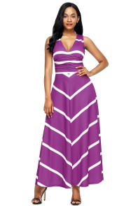 Purple V Neck Cut out Back Printed Maxi Dress