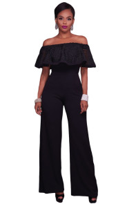 Black Embroidery Ruffle Top Off Shoulder Jumpsuit