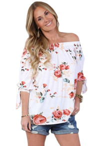 White Floral Elastic Off Shoulder Top