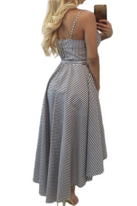 Black White Pinstripe Print Sweetheart Hi-low Dress