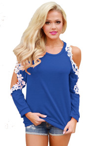 Lace Trim Cold Shoulder Royal Blue Long Sleeve Top
