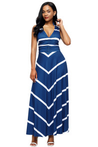Blue V Neck Cut out Back Printed Maxi Dress