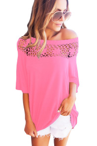 Pink Crochet Neckline Top