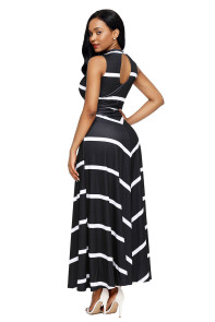 Black V Neck Cut out Back Printed Maxi Dress