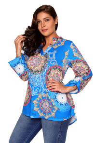 Blue Retro Print Quarter Sleeve Blouse
