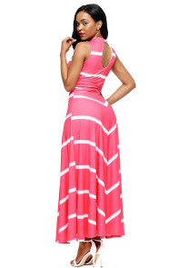 Pink V Neck Cut out Back Printed Maxi Dress