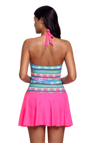 Aztec Print Rosy Halterneck One Piece Swimdress