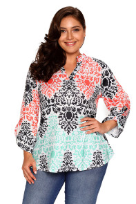 Green Coral Retro Print Quarter Sleeve Blouse