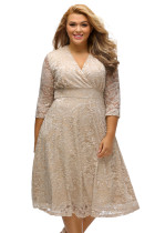 Apricot Plus Size Surplice Lace Formal Skater Dress