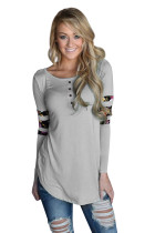 Gray Floral Print Splice Sleeve Pullover Blouse