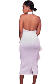 White Halter High Neck Ruffled Midi Party Dress with Back Slit