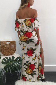 Floral Print Bardot Ruffle Crop Top and Split Maxi Skirt