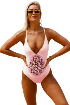 Pink Crochet Front Detail One Piece Bathing Suit