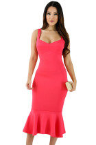 Rosy Elegant Mermaid Bodycon Dress