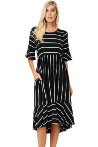 Black White Striped Bell Sleeve Hi-low Midi Dress