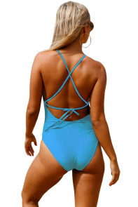 Blue Crochet Front Detail One Piece Bathing Suit