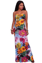 White Multi-color Floral Print Keyhole Back Maxi Dress