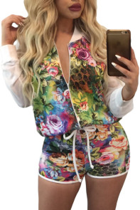 Wonderland Floral Dye Bomber Short Set