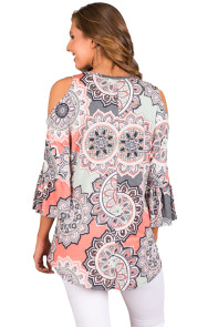 Gray Cold Shoulder Criss Cross Floral Blouse