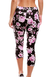 Black Pink Floral Print Crisscross Detail Leggings