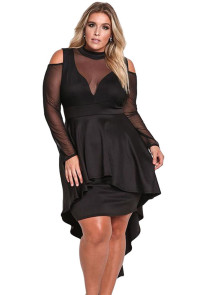 Black Sheer Mesh Trim Hi-Lo Peplum Bodycon Dress