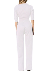 White Slanted One Shoulder Wide Leg Jumpsuit