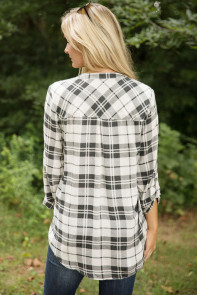 Grey White Plaid Long Sleeve Preppy Blouse