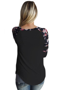 Black Floral Varsity Stripe Long Sleeve Top
