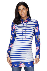 Navy Striped and Floral Sweatshirt